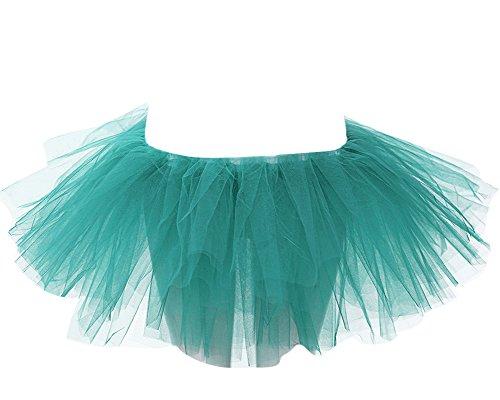 SaiDeng Jupe Tutu Femme Bouffe Pliss Mini-Jupe Danse Ballet Ballerine Tulle Taille Unique Herbe Vert