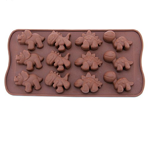 12-Cavity Silicone Mini Dinosaur Cake Chocolate Candy Mold, Non Stick Flexible DIY Baking Molds Pans for Making Crayons, Soap, Cake, Bread, Jelly, Chocolate, Candy