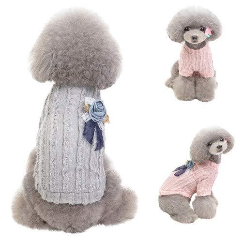 Pet Sweater,Grace flower dog cat Dress,Cute pet Sundress,Soft Warm puppy kitty Shirt,Pet Print Lace tutu,Fashion Autumn and Winter Cat Outwear Apparel (S, Gray)