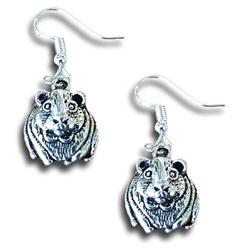 Guinea Pig Charm Earrings Gifts Dangle Silver - Pig Earrings Guinea