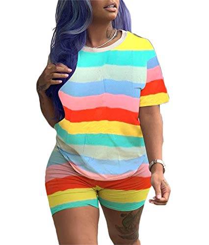 Women's Sexy 2 Piece Outfit Rainbow Striped Short Sleeve Floral Tracksuit Jumpsuit Crop Top T-Shirts and Shorts Set Rompers S-3XL Yellow