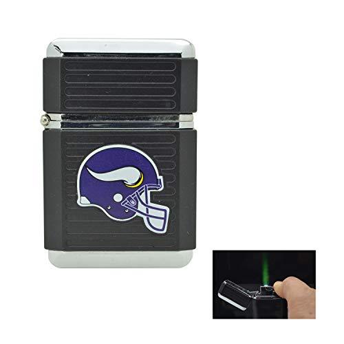 NFL Official License Windproof Refillable Butane Torch Lighter Tin Gift Box (Minnesota Vikings)