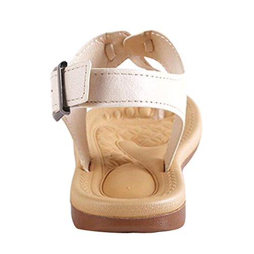 Flat Beige Buckle Time Women Women Slingback Dear Dear Time Sandals XHZ0zw