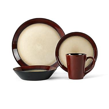 Pfaltzgraff Aria 16-Piece Round Stoneware Dinnerware Set (Red)