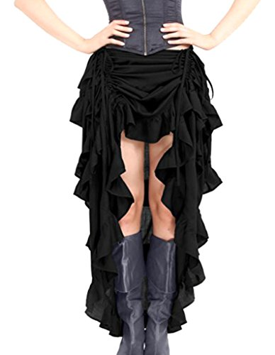 Burvogue Women 's Gothic Elastic Steampunk Skirts,Black,Small