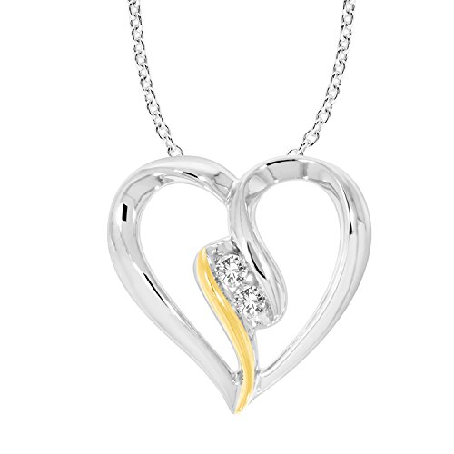 (10K Gold Diamond Two Stone Heart Pendant Necklace (0.05 cttw, IJ/I2-I3) 18
