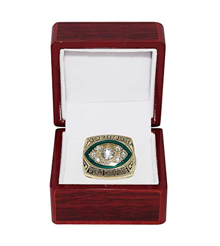 NEW YORK JETS (Joe Namath) 1968 SUPER BOWL III WORLD CHAMPIONS (Vs. Baltimore Colts) Vintage Rare Collectible High-Quality Replica NFL Football Silver Championship Ring with Cherrywood Display Box