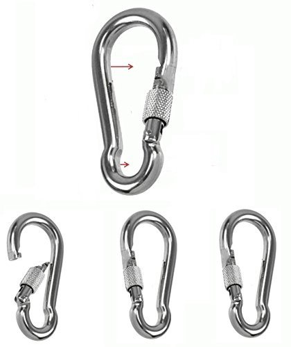 Non-Rust Stainless Steel 304 Spring Snap Hook Carabiner Screw Lock- 3 inch - Key Ring Hook with Spring Loaded Gate/Camping, Traveling, Hiking…etc…Set of 4 (not to be used for climbing) by soanhc