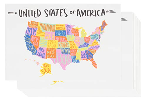 USA Postcards - 40-Pack U.S. Map Postcards, Self Mailer Mailing Side Travel Postcards, Hand-Drawn Artwork Design, United States Map Postcards with 50 States, 4 x 6 ()