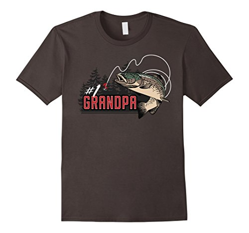 Mens Number One Grandpa Jumping Trout Outdoors Graphic T-Shirt Medium Asphalt - Jumping Trout