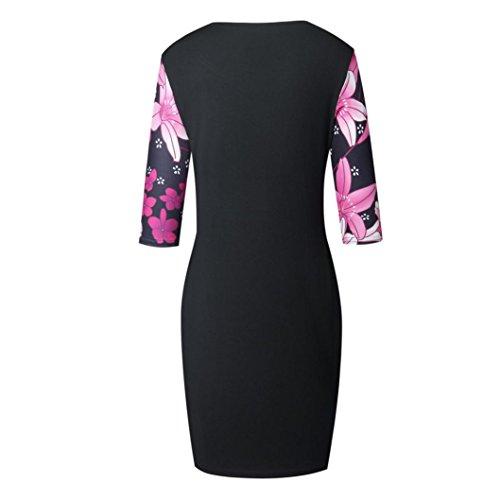 Tian-g Les Femmes De Mode Polyester Été Mince Robe De Plage Imprimé Floral Robe Dame Sans Manches Imprimé Serré Décontractée Et Robe Longueur Genou Rose Chaud