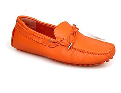 Happyshop (tm) Vera Cravatta In Pelle Di Mucca Casual Mocassino Slip On Mens Scarpe Da Auto Guida Mocassino Arancione
