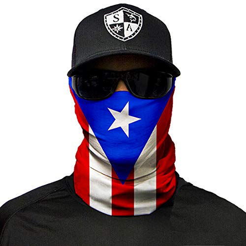 SA Company Face Mask Shield Protective Balaclava Bandana MicroFiber Tube Neck Warmer - Puerto Rico