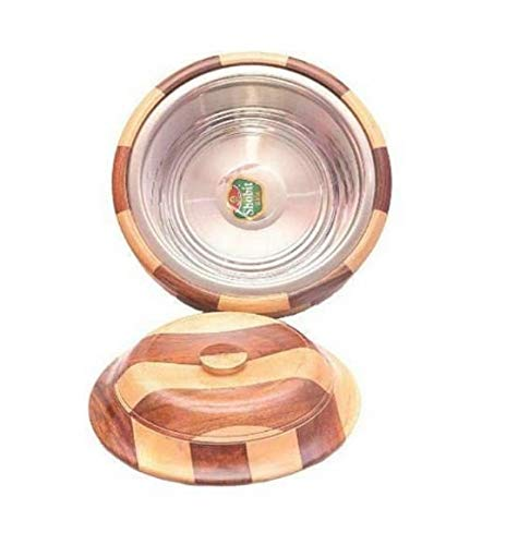 AR Handicrafts, Wooden Chapati Box Container   Roti Box  Serving Casseroles  Stainless Steel Inside Container