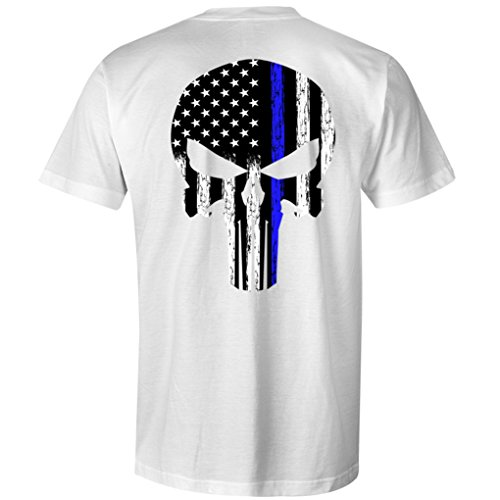 Thin Blue Line Leo Police USA Skull Flag Men's T Shirt (XL, White) ()