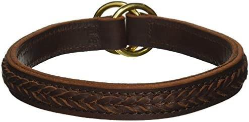 Dean and Tyler CLASSY KIER Leather Dog Choke Collar with Solid Brass HardwareBrownSize 18Inch by 1InchFits Neck 16Inch to 18Inch