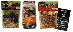 Frontier Soups Gluten-Free Natural Soup Mix | 3 Flavor Variety (1) each: Kale Quinoa Vegetable, Vegetable, Sausage Chickpea Stew (4.25-7 Ounces) Plus Recipe Booklet Bundle