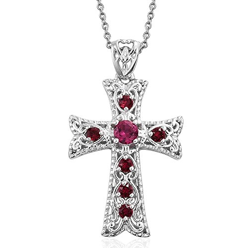 Shop LC Lab Created Ruby, SWAROVSKI Crystal Platinum Plated Brass Cross Pendant With Stainless Steel Chain 20