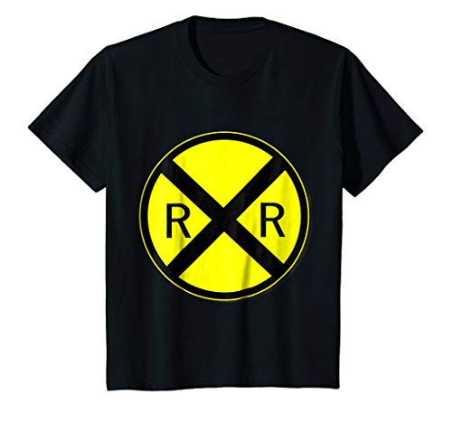 Kids Railroad Crossing Sign Simple Easy Halloween Costume T-Shirt 4 Black ()