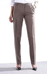 Zealmer Women\'s Wear To Work Slim Dress Pants 38 Camel