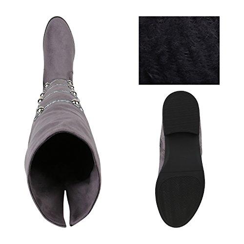 Stiefelparadies Damen Stiefel Overknees Flandell Grau Brito