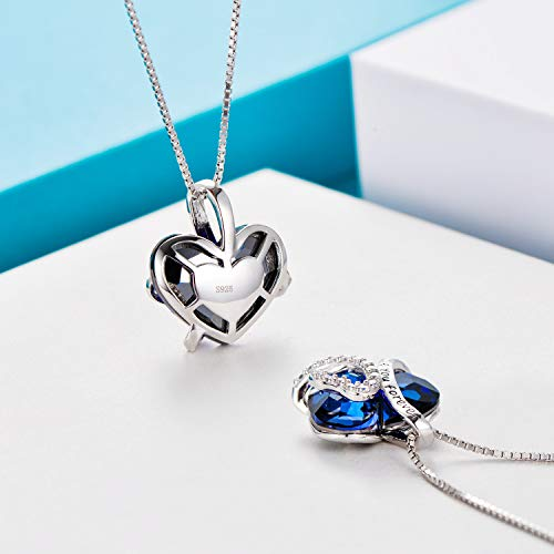 "Sterling Silver""I Love You Forever"" Heart Pendant Necklace with Blue Swarovski Crystals 4"