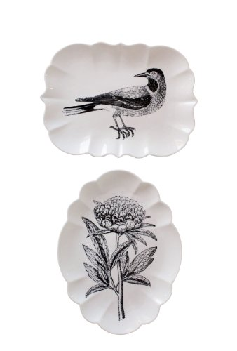Creative Co-Op DA2806 Stoneware Plate Set with Bird and Flower Images