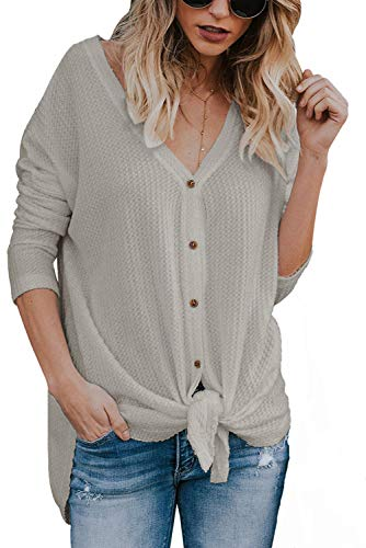 JOSIFER Women's V Neck Button Down Loose Fitting Shirts Waffle Knit Tunic Blouse,Grey,S ()