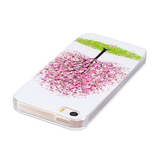 Hülle iPhone SE / 5 / 5S, IJIA Ultra Dünnen Transparent Leuchtende Nacht Kirschbaum Rose TPU Weich Silikon Handyhülle Schutzhülle Handyhüllen Schale Case Tasche für Apple iPhone SE / 5 / 5S + 24K Gold