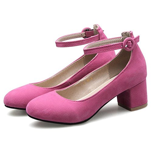 TAOFFEN Women's Buckle Strap Court Shoes Heels Rose Red L0yGqV