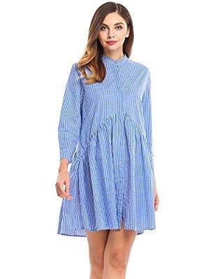 ACEVOG Women Long Sleeve Plaid Button Down A-Line Short Shirt Dress