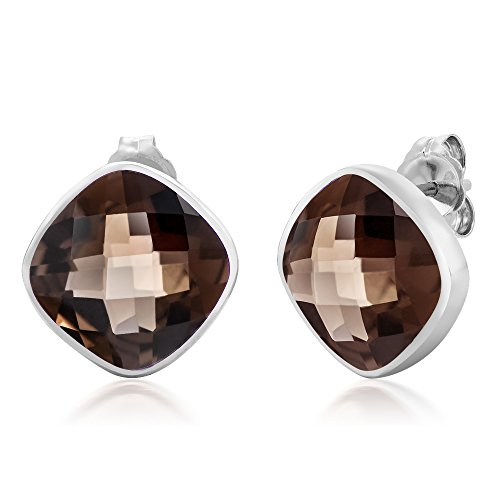 Gem Stone King 12.00 Ct 925 Sterling Silver Smokey Quartz Gemstone Cushion Cut Stud Earrings Cushion Smokey Quartz Earring
