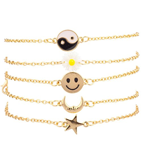Lux Accessories Yin Yang Sunflower Floral Happy Face Smile Crescent Moon Star Bracelet - Happy With Face Glasses