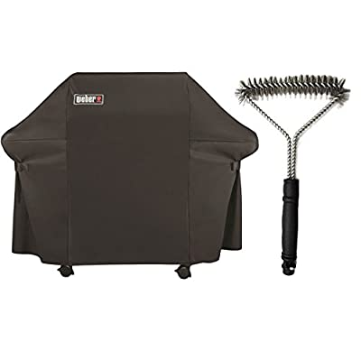Grill Bundle Includes 1 Weber Grill Cover with Storage Bag for Genesis Gas Grills and 1 12-Inch 3-Sided Grill Brush