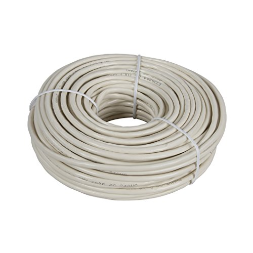 Almond Phone Cord - AmerTac - Zenith TP1100ULA 100 FT 4 Wire Round Station Wire, Almond Landline Telephone Accessory