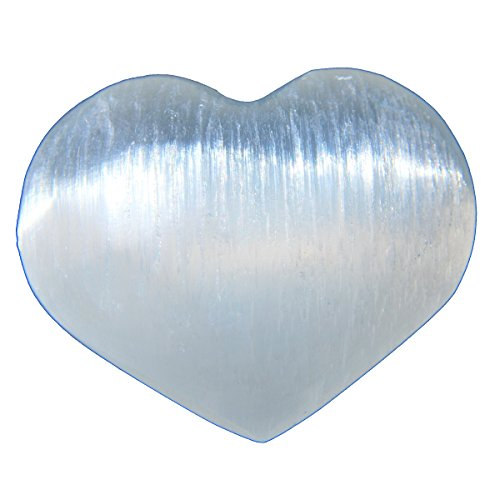 ZenergyGems™ [3] Three Charged 2 Moroccan Selenite Crystal Hand-Carved Pocket Puffy Hearts - Palm Worry Stones - Healing Energy - Negative Energy Absorber Reiki by ZENERGY GEMS