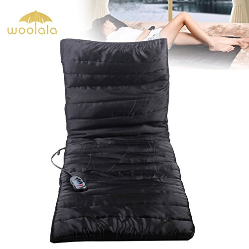 Woolala Massage Cushion Silky Quilted Massage Mat with Support Pillow, Vibrating Full body Massager with Heat Therapy for Head, Shoulder, Back, Hip, Leg