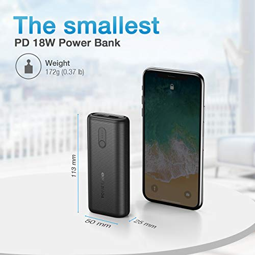Portable Charger POWERADD EnergyCell Ⅱ 10000, USB C Smallest and Lightest 10000mAh Power Bank PD 18W, Compact External Battery for iPhone 6 iPhone 7 iPhone 12 XS X Samsung S10 Google LG iPad and More
