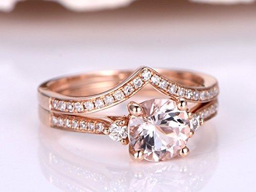 2 Solid 14k Rose Gold Morganite Engagement Rings Set,6.5mm Round Cut Natural Peach Pink Morganite Gemstone Ball Prong Diamonds Ring,Half Eternity Pave Diamond Vintage Matching Band Sets Size 4-9 ()
