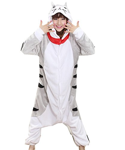 MizHome Unisex Gray Cat One-Piece Adult Pajamas Costume Homewear Lounge Wear XL (Cat Soft Costume)