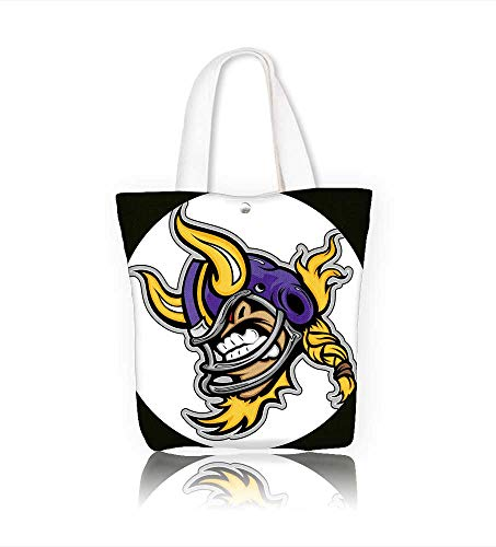 canvas tote bag Graphic Sports lllustration of a Snarling American Football Viking Mascot with Horns onFootball reusable canvas bag bulk for grocery,shopping  W11xH11xD3 INCH