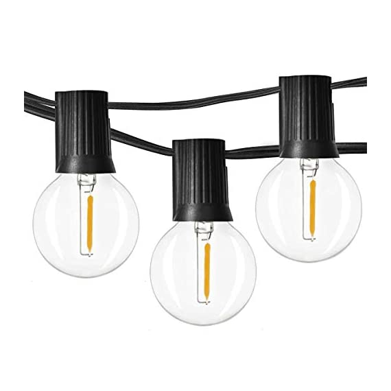Outdoor String Lights LED Newpow 48ft with 23+2 Spare Bulbs -Clear Glass, Dimmable Waterproof, 1W 60LM 2200K Warm Glow… - 【Beautiful color and plenty of lights】Perfect ambient lighting- just like dining at a fine outdoor restaurant. They replicate the lighting effect of incandescent filament lamps. Solved the defects of dim, short life and overheating. That produces a glow like incandescent filaments. 【Bulb Stylish and Easy to Install 】2ft spacing between sockets. 23 sockets per cord. Total length is 48ft, yet uses up to 90% less power than incandescent bulbs. With an average lifespan of 10,000 hours. End to end connects up to 20 strands. 【IPX6 Waterproof】Commercial grade high quality is perfect for permanent outdoor lighting, UL certified string light can withstand extreme temperatures, rain, wind or wet weather, Unlike traditional ropes, they are more durable. - patio, outdoor-lights, outdoor-decor - 41oAw99oFHL. SS570  -