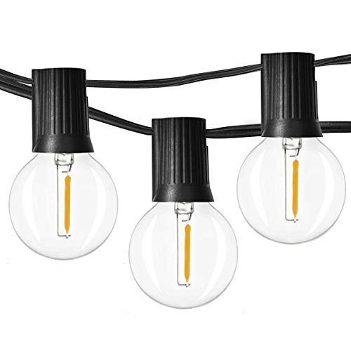 (Newpow 48ft LED Globe String Lights Dimmable with 25 G40 Vintage Edison LED Bulbs (2 Extra) 1W 60Lm 2500K Warm Glow for Indoor/Outdoor Decoration and lighting - Black, UL listed)
