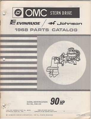 1968 OMC EVINRUDE JOHNSON STERN DRIVE 90HP PARTS MANUAL P/N - Stern 1968 Omc Drive