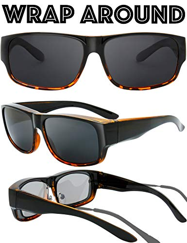 08a0d0ba1df The Fresh High Definition Polarized Wrap Around Shield Sunglasses for Prescription  Glasses - Gift Box Package