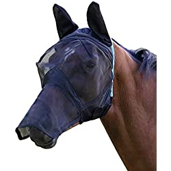 Shires Fine Mesh with Ears and Nose Fly Mask Extra Full Size Black