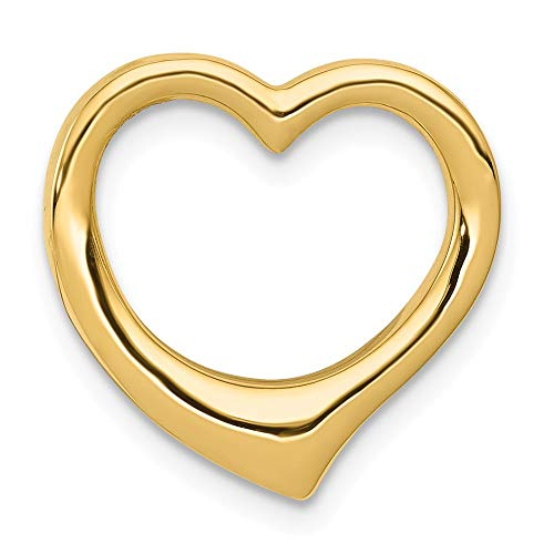 14k Yellow Gold Heart Necklace Chain Slide Pendant Charm Love Fine Jewelry Gifts For Women For Her ()