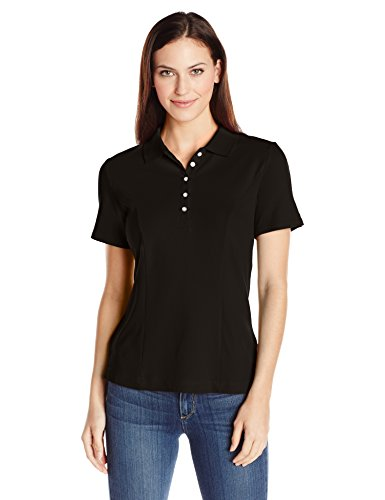 Riders by Lee Indigo Women's Morgan Short Sleeve Polo Shirt, Black Soot,...