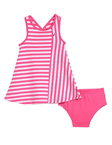 Nautica Baby Girls' Stripe Criss Cross Back Knit Dress, Medium Pink, 18M (Dresses For Women Nautica)