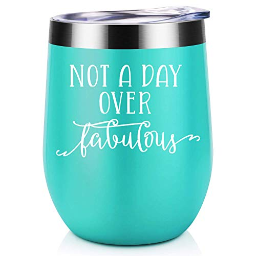 Not a Day Over Fabulous | Funny Birthday Wine Gifts Ideas for Women, BFF, Best Friends, Coworkers, Her, Wife, Mom, Daughter, Sister, Aunt | Coolife 12oz Stemless Insulated Wine Tumbler with Lid